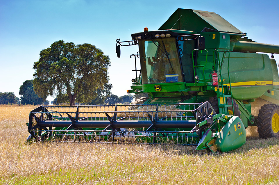Tractores cosechando en la Finca Las Terceras