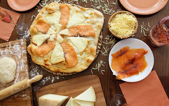 Pizza casera de Salmón