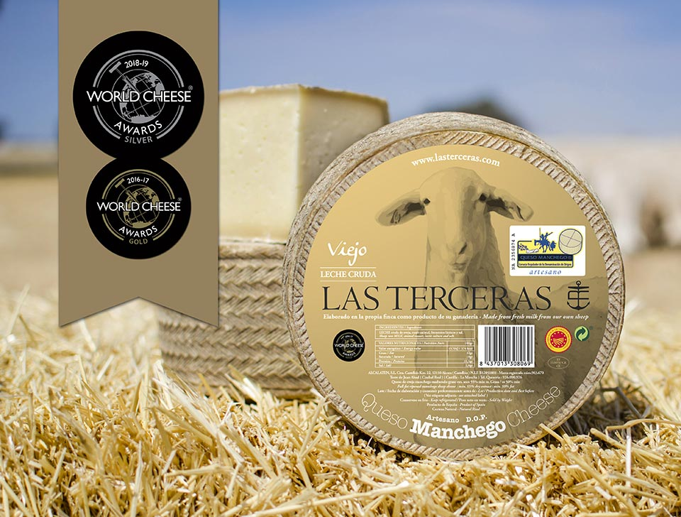 Aged Manchego Cheese silver medal as a hard cheese that has been awarded a P.D.O.